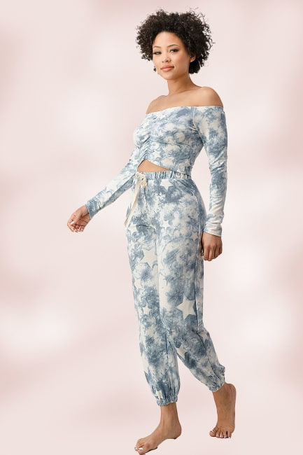 French Terry Tie Dyed Star Printed Off The Shoulder And Jogger Pants Set