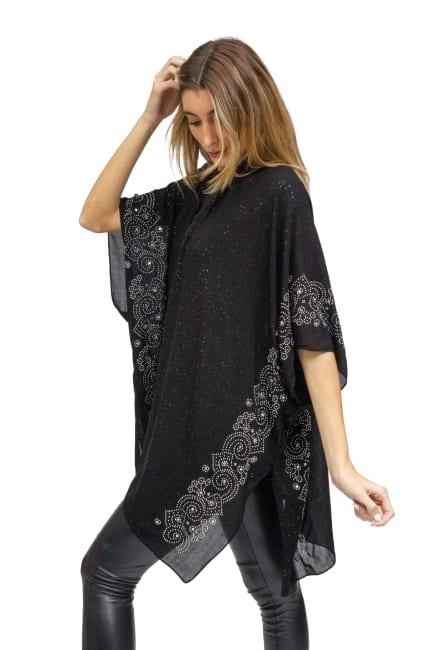 Glitter Kimono With Swirl Embroidered Sleeve