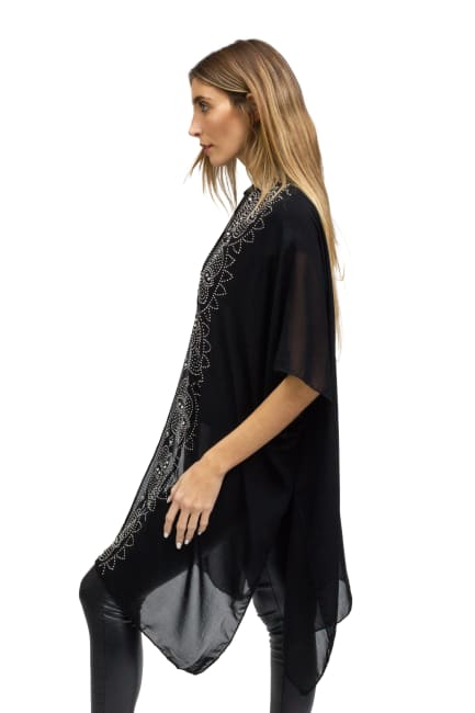 Tiara Stone Border Abstract Kimono