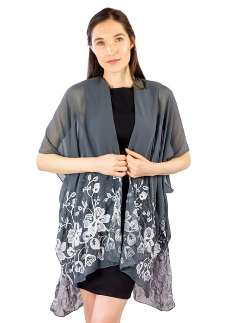 Embroidery Floral Cluster With Stone Border Shawl
