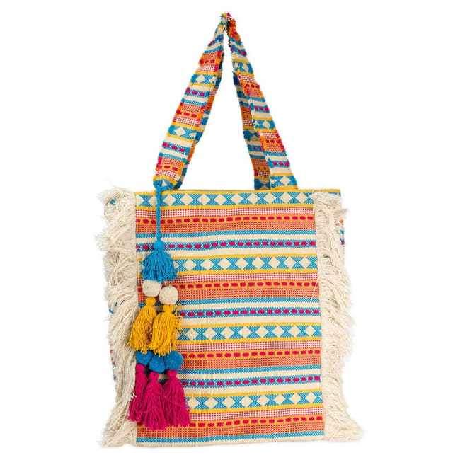 Woven Cotton Jute Fringe Patterned Tote with Tassels