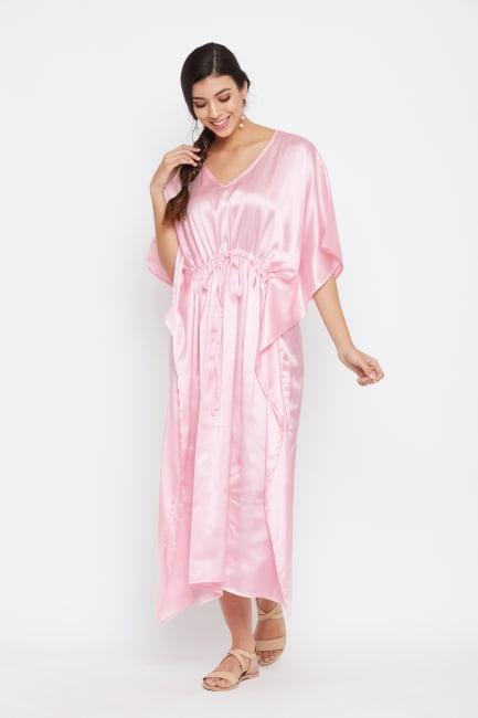 Long Satin Nightwear Kaftan Maxi Dress - Plus