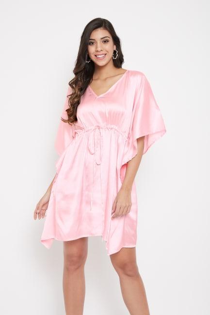 Short Adjustable Satin Tunic Nightwear Dress - Plus