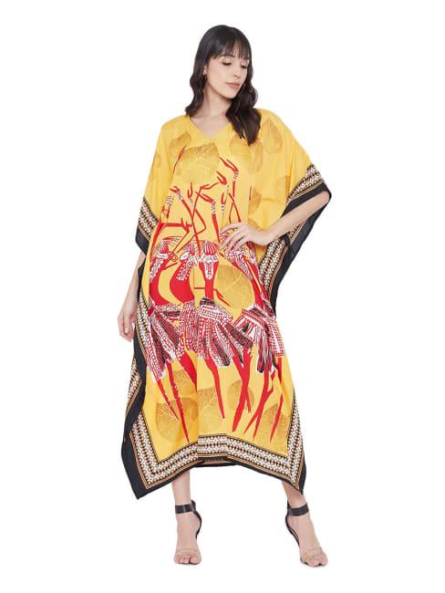 Loose Polyester Kimono Kaftan Dress - Plus