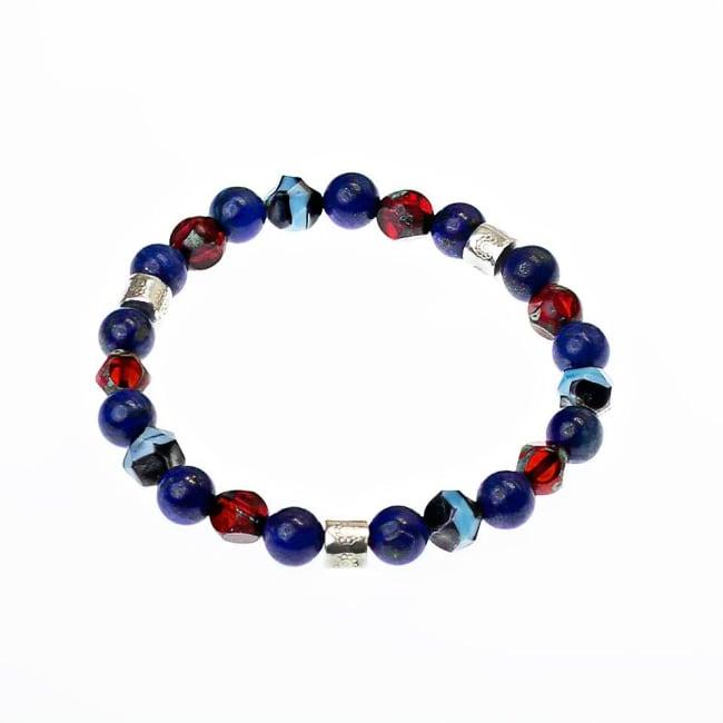 Dell Arte by Jean Claude Blue Lapis Crystal Bead Bracelet