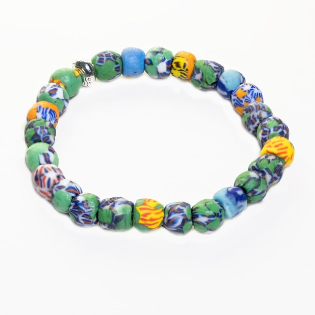 Dell Arte By Jean Claude Krobo Stretchable Recycled Glass Hand Painted Beads Bracelet
