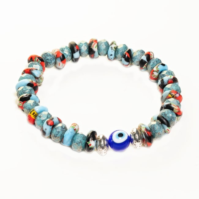 Dell Arte by Jean Claude Krobo Hand Painted Recycled Glass and Czech Glass Beads Mix Bracelet