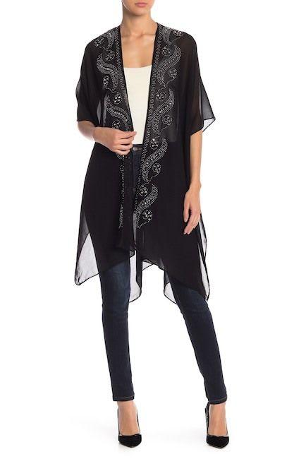 Paisley Rhinestones Solid Kimono