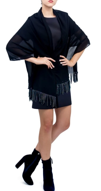 Solid Shawl with Studded Fringes