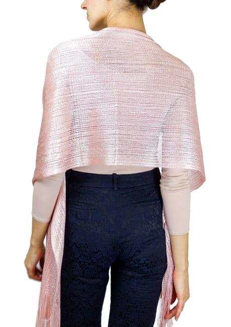 Open Weave Metallic Shawl