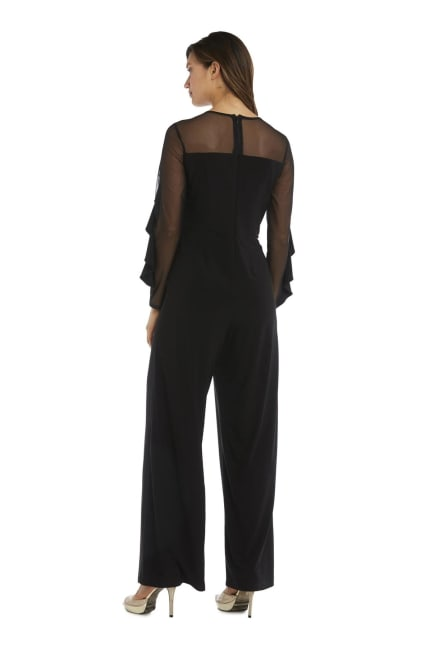 Long-Sleeved with Sheer Panels and Ruffles Jumpsuit - Petite