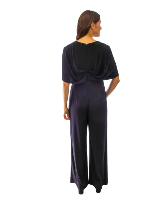 One Piece With Draped Bodice And Capelet Jumpsuit - Petite