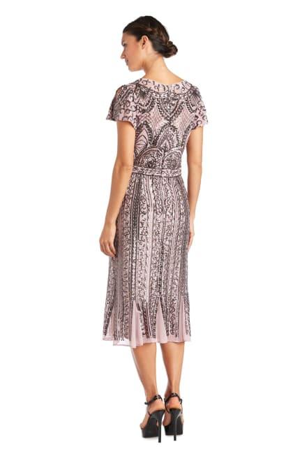 Godet Inserts Mesh Beaded Dress - Petite