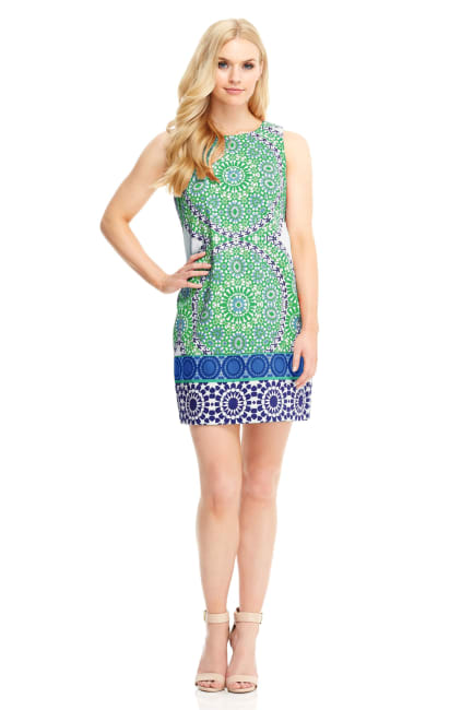 Cecilia Flower Tile Shift Dress