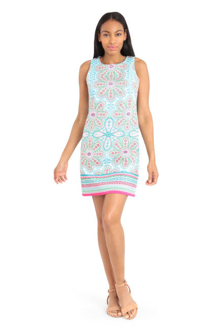 Taylor Folkloric Floral Cotton Shift Dress