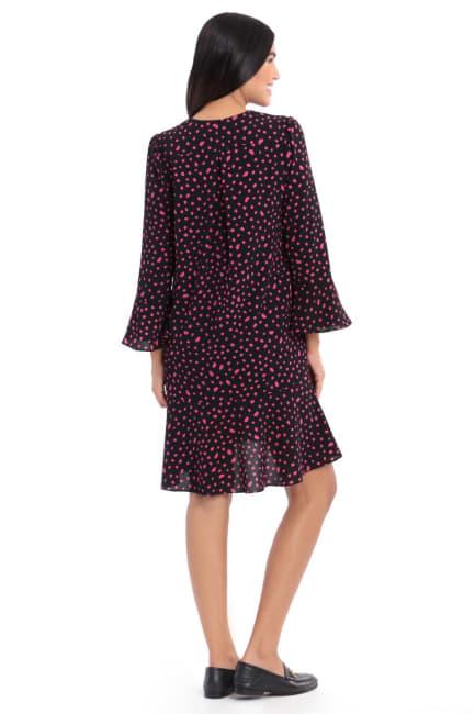 Layla Black/Petunia Bell Sleeve Dot Crepe Ruffle Shift Dress