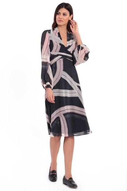Chloe Crisscross Tie Back Blouson Midi Dress