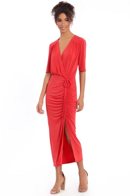 Chelsea Surplus Shirred Drawstring Midi Dress