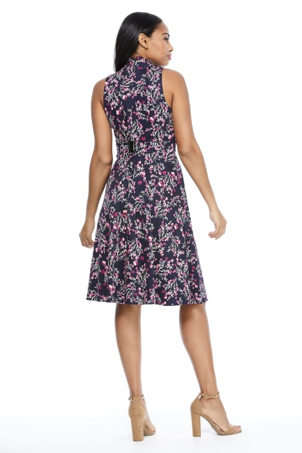 Karen Spring Buds Halter Fit and Flare Tie Waist Dress - Petite