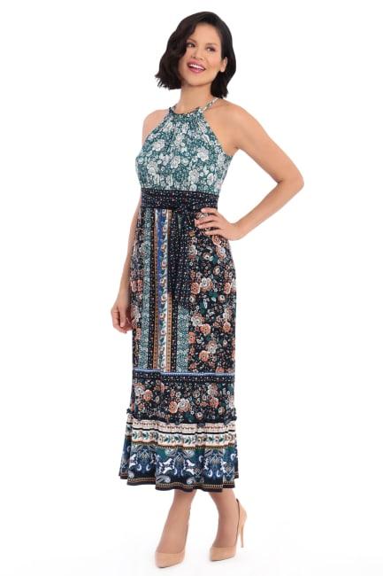 Darby Floral Stripe Halter Jersey Maxi Dress - Petite