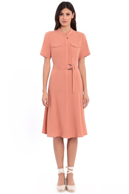 Dede Utility Mandarin Collar Flared Shirtdress Dress - Petite