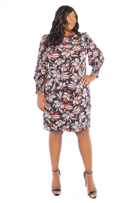 Victoria Puff Sleeve Smocked Cuff Feather Floral Sheath Dress - Plus