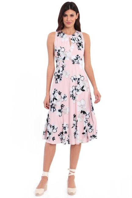 Lauren Floral Pleat Neck Midi Dress - Petite