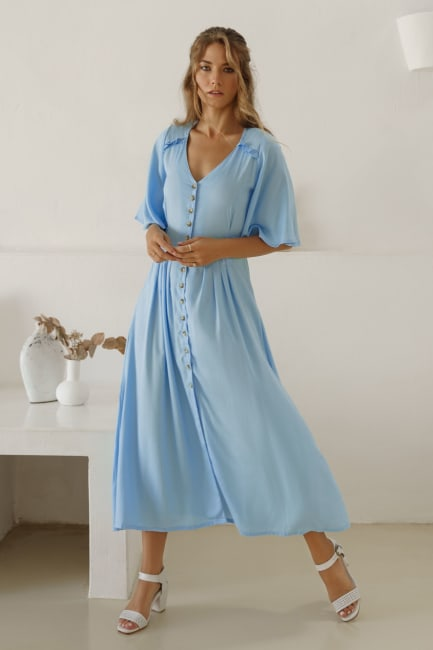 Lola Button Up Midi Dress - Plus