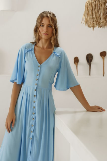Lola Button Up Midi Dress