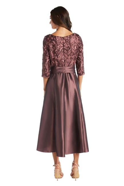 High-Low Dress With Lace And Sequin Top And Satin-Finish Voluminous Skirt - Petite