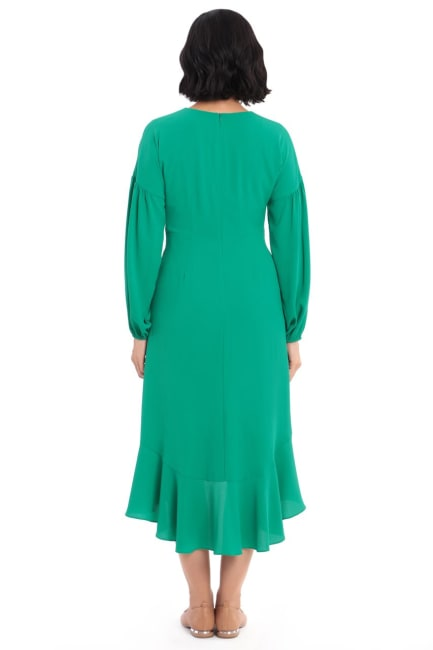 Miranda Solid Crepe High Low Fit and Flare with Tie Waist Dress