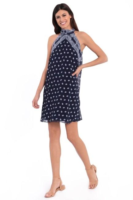 Megan Paisley Bandana Print Halter Tie Neck Trapeze Dress