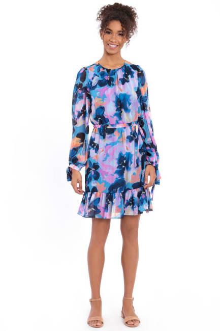 Allison Tie Sleeve Short Ruffle Dress