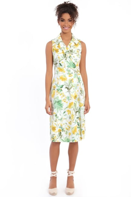 Heidi Floral Fit and Flare Notch Collar Midi Dress