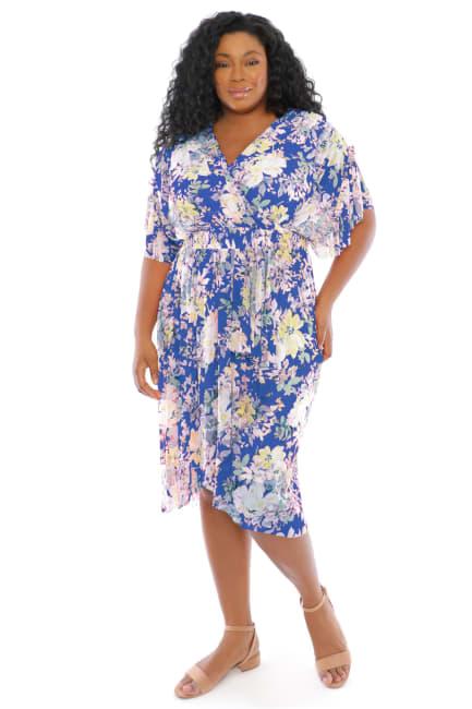 Christina Floral Smock Waist Wrap Midi Dress - Plus