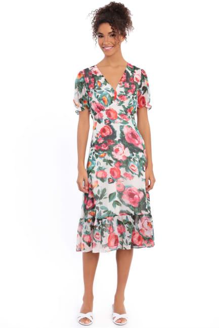 Lori Floral Puff Sleeve Empire Flounce Midi Dress - Petite