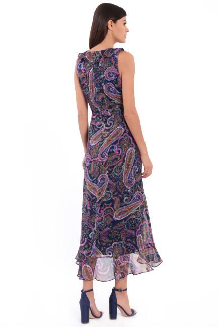 Mariah Paisley Print Ruffle Maxi Dress