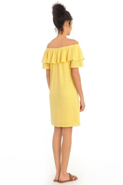 Jasmine Embroidered Off the Shoulder Ruffle Shift Dress