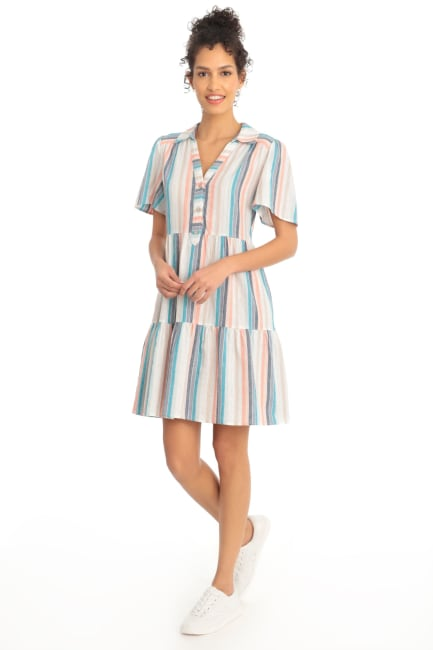 Phoebe Metallic Rainbow Stripe Tiered Babydoll Shirtdress