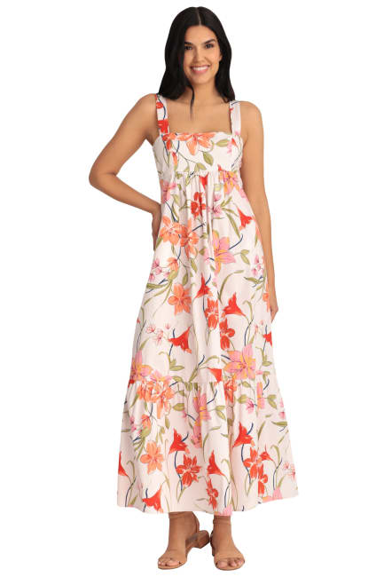 Monica Floral Smocked Back Babydoll Tiered Maxi Dress