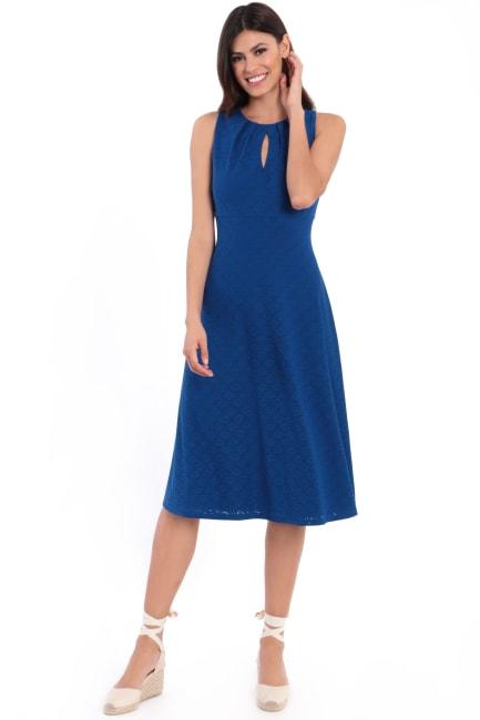 Vanessa Pleat Neck Keyhole Midi Dress
