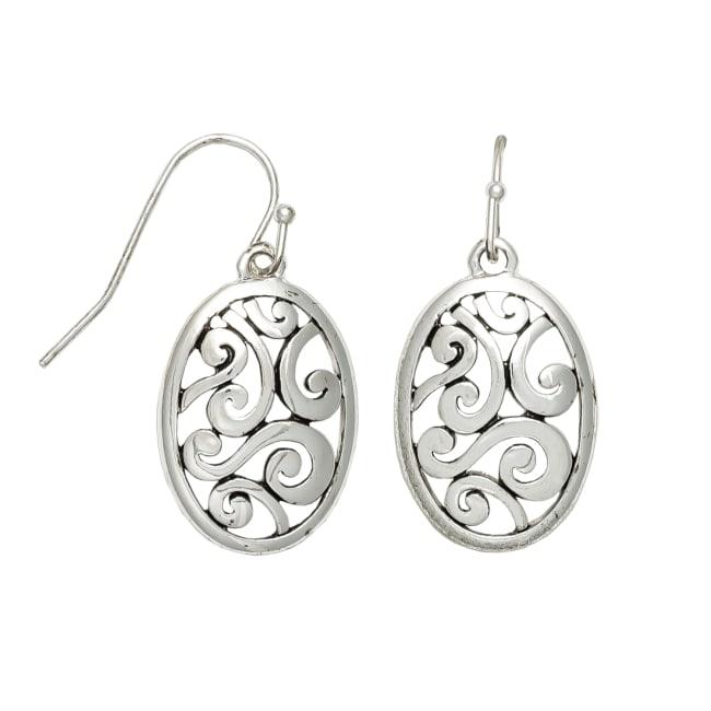 Museum Collection Silver Oval Bali Swirl Drop Earrings