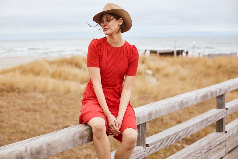 Catalina Grace Jewel Pleated Neck Midi Dress