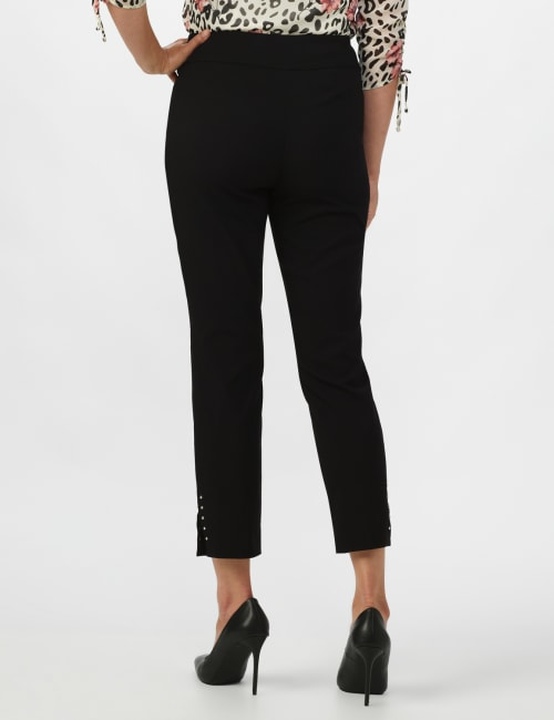 Solid Superstretch Tummy Panel Pull On Ankle Pants With Rivet Trim Bottom          - Petite
