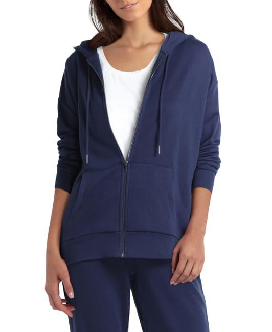 H Halston Studio Long Sleeve Zip Front Hoodie