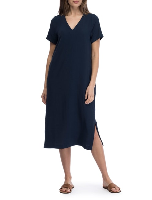 Short Sleeve Midi Lined Dress
