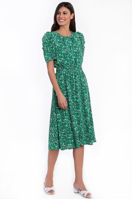 Braley Shirred Jewel Neck Pleated Ruched Sleeve Elastic Waist Midi Dress