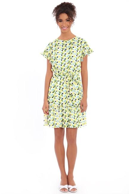 Audrey Drop Shoulder Jewel Neck Elastic Waist Ruffle Dress - Petite