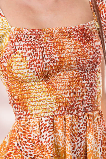 Smocked Ruffle Sleeves Romper Top