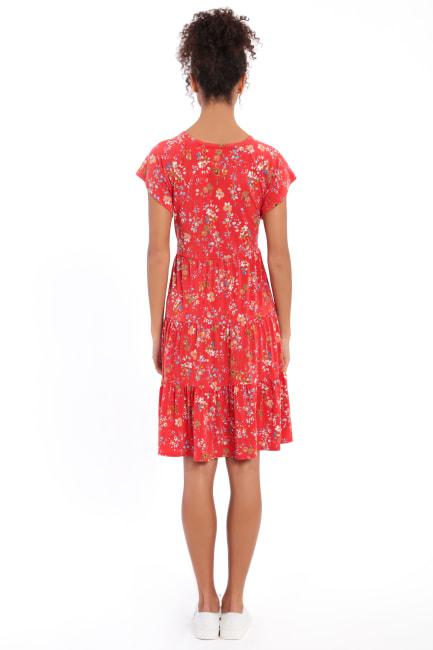 Abigail Short Sleeve V-Neck Tiered Babydoll Dress - Petite